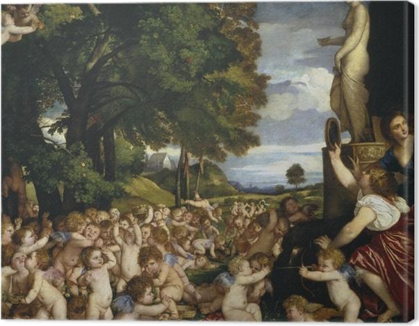Leinwandbild Tizian - Venusfest - Reproduktion
