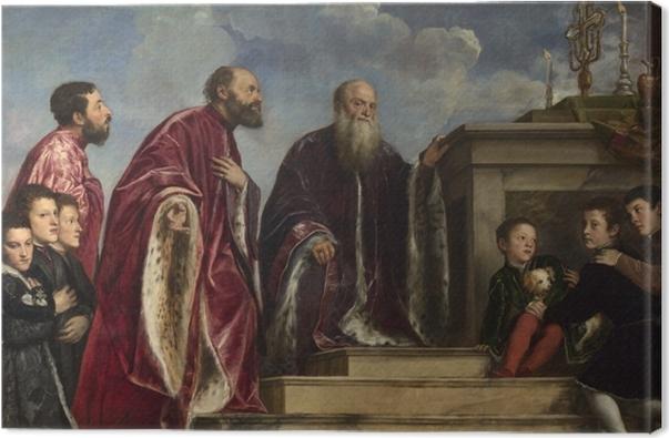 Leinwandbild Tizian - Votivbild der Familie Vendramin - Reproduktion