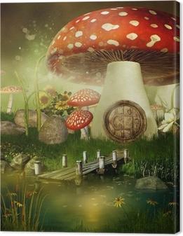 Leinwandbild Toadstool Märchen-Häuschen