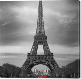Leinwandbild Tour Eiffel et voiture rouge-Paris