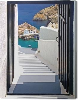 Leinwandbild Traditionelle Architektur von Oia auf der Insel Santorin, Gre