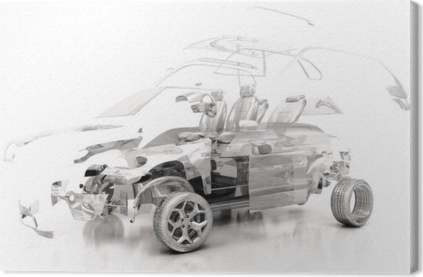 Leinwandbild Transparent Auto, Komponenten, 3D-Design, Tuning, Motor ...