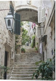 Leinwandbild Treppen in der Altstadt von Dubrovnik