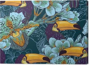 Leinwandbild Tropical nahtlose parrern mit Blumen und Toucan