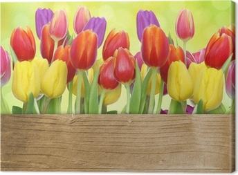 Leinwandbild Tulpen mit Holztafel