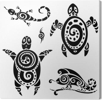 Leinwandbild Turtle. Tribal Tattoo-Set.
