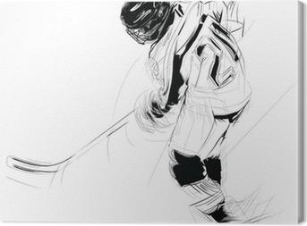 Leinwandbild Tuschezeichnung Darstellung eines Eis hickey Player