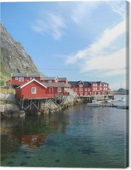 Leinwandbild Typische rorbu Dorf auf den Lofoten in Norwegen