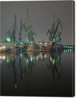 Leinwandbild Und Kräne der Danziger Werft, Polen.