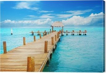 Leinwandbild Urlaub in Tropic Paradise. Jetty auf der Isla Mujeres, Mexiko