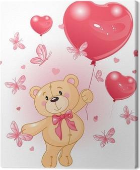 Leinwandbild Valentinstag Teddy
