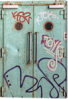 Leinwandbild Vandalized Aufzug Tür in einer verlassenen Fabrik