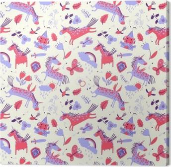 Leinwandbild Vector cute floral nahtlose Muster mit Magie Einhörner