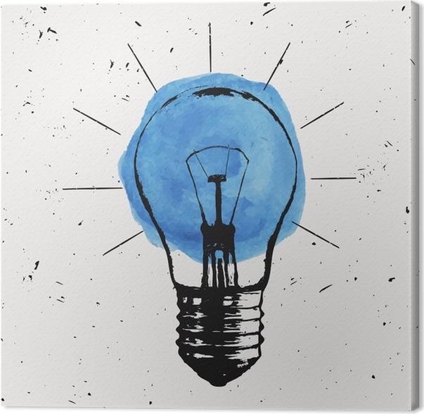 Leinwandbild Vector Grunge Illustration Mit Glühbirne. Moderne Hipster  Skizze Stil. Idee Und Kreatives Denken Konzept.