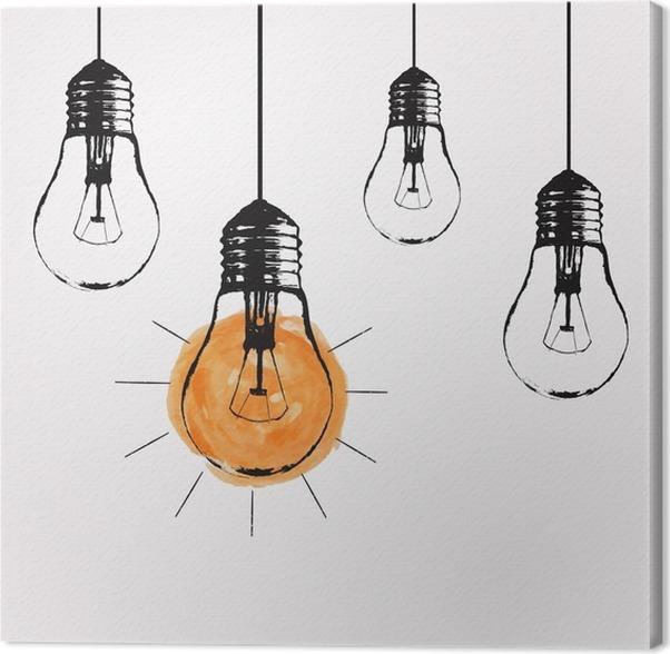 Leinwandbild Vector Grunge Illustration Mit Glühbirnen Und Platz Für Text  Hängen. Moderne Hipster Skizze Stil. Einzigartige Idee Und Kreatives Denken  ...