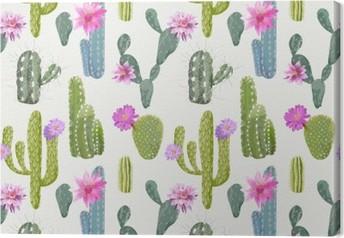 Leinwandbild Vector Kaktus Hintergrund. Nahtlose Muster. Exotische Pflanze. Wendekreis