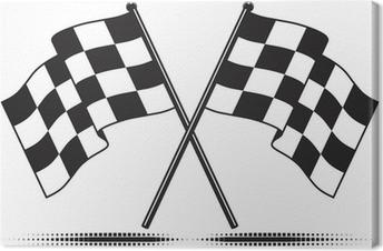 Leinwandbild Vector karierten Fahnen - das Ziel erreicht. Gradient kostenlos.