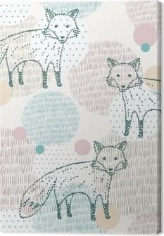 Leinwandbild Vector nahtlose geometrische Muster mit Fuchs gezeichnet