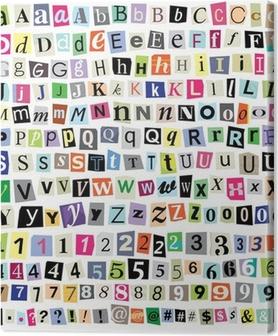 Leinwandbild Vector Ransom Note-Cut Papier Buchstaben, Zahlen, Symbole
