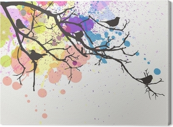 Leinwandbild Vector Zweig mit Vögeln auf einem abstrakten Hintergrund