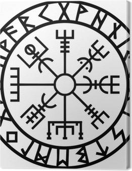 Leinwandbild Vegvisir, Runen Kreis, Island, Navigator