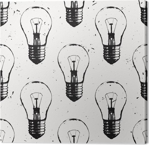 Leinwandbild Vektor Grunge Nahtlose Muster Mit Glühbirnen. Moderne Hipster  Skizze Stil. Idee Und Kreatives Denken Konzept.