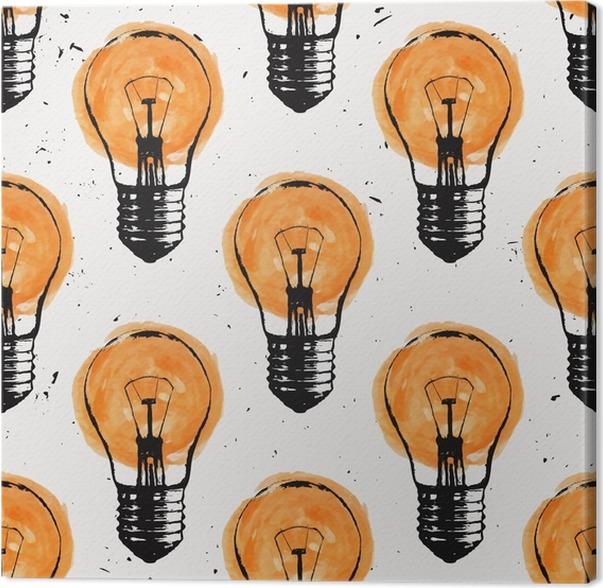 Perfekt Leinwandbild Vektor Grunge Nahtlose Muster Mit Glühbirnen. Moderne Hipster  Skizze Stil. Idee Und Kreatives Denken Konzept.