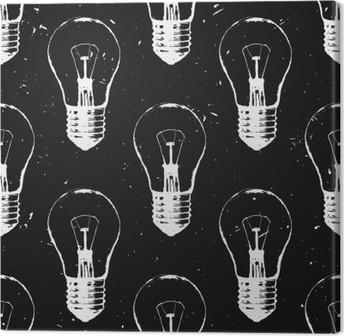 Leinwandbild Vektor Grunge Nahtlose Muster Mit Glühbirnen. Moderne Hipster  Skizze Stil. Idee Und Kreatives