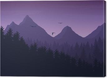 Leinwandbild Vektor-Illustration der Berglandschaft mit Wald unter lila Nachthimmel mit Wolken und fliegenden Vögeln