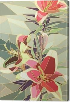 Leinwandbild Vektor-Illustration von Blumen rosa Lilie.