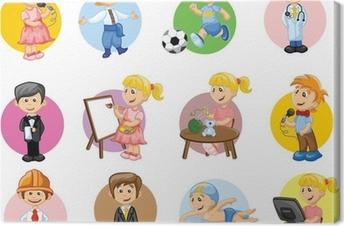 Leinwandbild Vektor-Illustration von Menschen aus verschiedenen Berufen