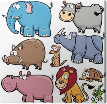 Leinwandbild Vektor-Illustration von Wildtieren Karikaturen