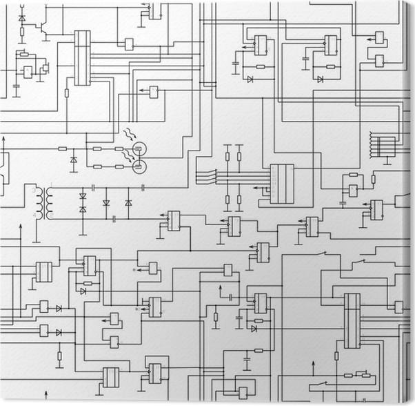 Leinwandbild Vektor nahtlose Muster elektrischen Schaltplan • Pixers ...