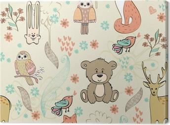 Leinwandbild Vektor niedlichen Kinder nahtlose Muster mit Tieren