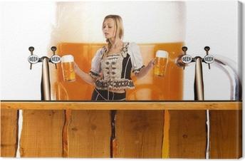 Leinwandbild Verrückt oktoberfest Stil mit sexy tiroler Mädchen mit Bier