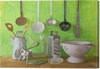 Leinwandbild Verschiedenen Vintage Küchenutensilien