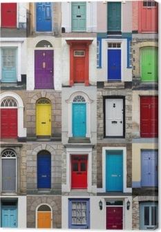 Leinwandbild Vertikale Foto-Collage von 25 Haustüren