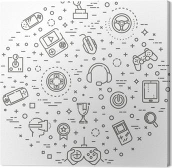 Leinwandbild Videospiele Symbole, einfache und dünne Linie Design