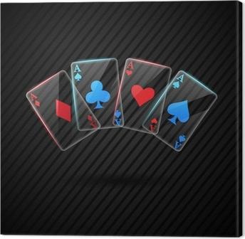 Leinwandbild Vier Glas Poker-Asse Spielkarten Illustration transparent