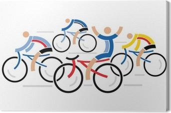 Leinwandbild Vier Rennradfahrer