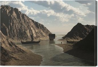Leinwandbild Viking Longships in isländischen Inlet