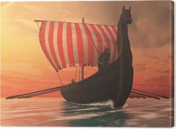 Leinwandbild Viking Mann und Langschiff