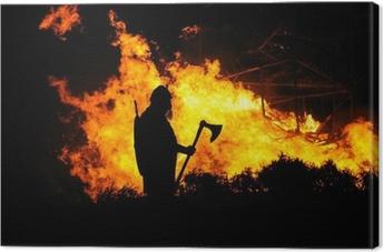 Leinwandbild Viking und brennenden Gebäude