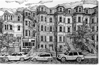 Leinwandbild Viktorianischen Stadthäusern Vorderansicht