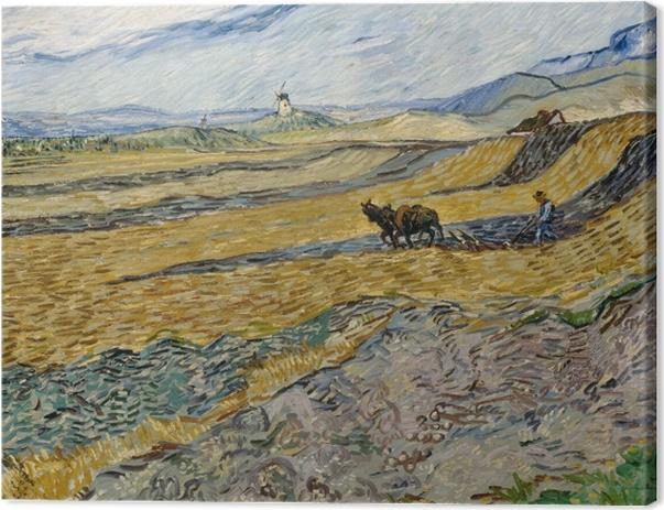 Leinwandbild Vincent van Gogh - Acker mit pflügendem Bauern und Mühle - Reproductions