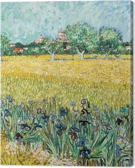 Leinwandbild Vincent van Gogh - Blick auf Arles mit Iris im Vordergrund - Reproductions