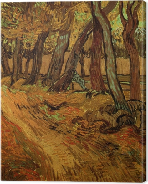 Leinwandbild Vincent van Gogh - Der Garten der Heilanstalt Saint-Paul mit Figur - Reproductions