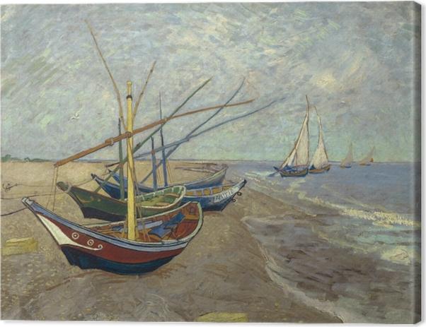 Leinwandbild Vincent van Gogh - Fischerboote am Strand von Les Saintes-Maries-de-la-Mer - Reproductions