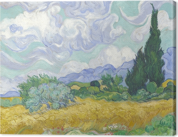 Leinwandbild Vincent van Gogh - Grünes Weizenfeld mit Zypresse - Reproductions