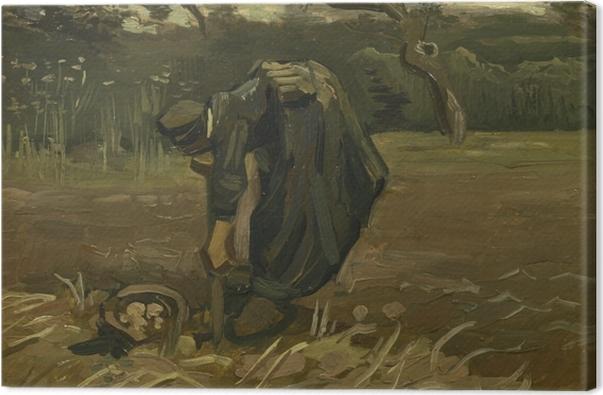 Leinwandbild Vincent van Gogh - Kartoffelgrabende Bäuerin - Reproductions